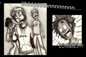 comic frame 1: Zombies attack!