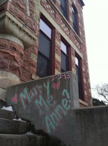 The chalk proposal. For those interested, as of Monday (confirmed by very trusting eyes), the message was still there completely intact. (Photo courtesy of Shelby Meyer)