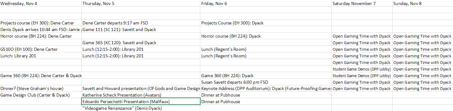 Schedule for the Workshop on Integrated Design in Gaming.