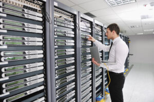 man with server